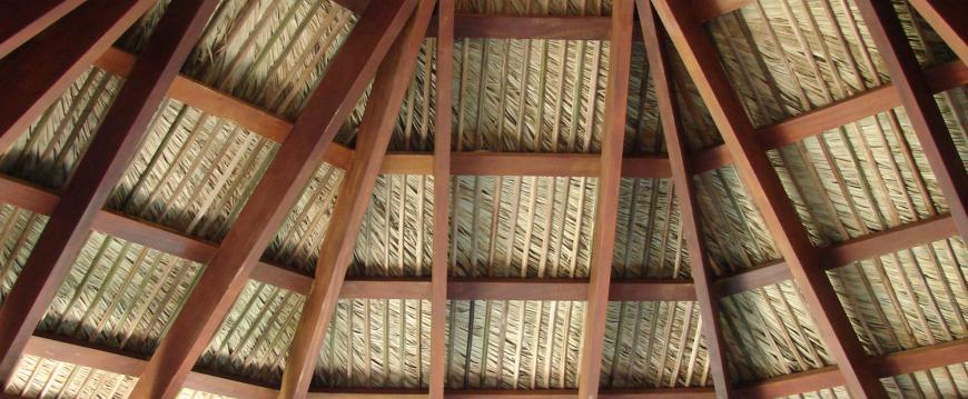 Underside of tiki bar palm thatch
