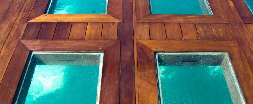 Glass view decking on dock