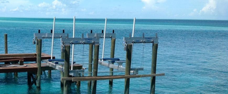 Ipe wood dock with boat hoist