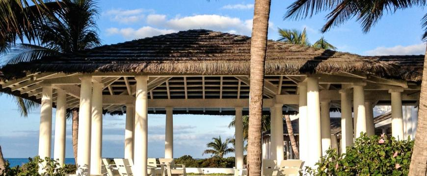 Pavilion - Custom Color Synthetic Thatch - Private Island, Bahamas