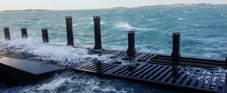 Tidal surge on ipe deck from hurricane