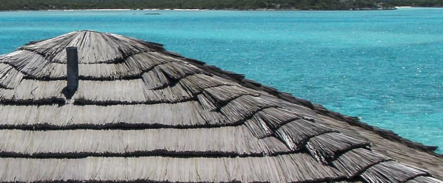 Thatched House Roof | Custom Color Synthetic Thatch | Private Island, Bahamas