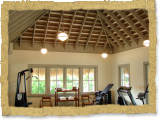 Interior palm thatch ceiling for gym