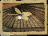 Tiki Bar with a ceiling fan