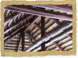 Bali thatch tiki hut interior cross beams