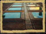 ipe wood dock with glass windows