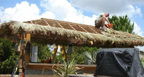 Tiki Hut Re-Thatch Project Stage 21