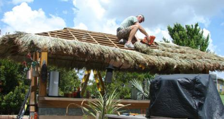 Tiki Hut Re-Thatch Project Stage 22
