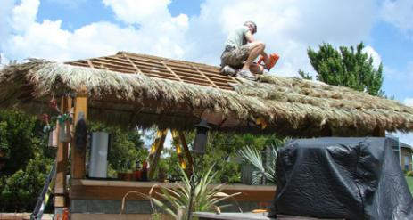 Tiki Hut Re-Thatch Project Stage 23