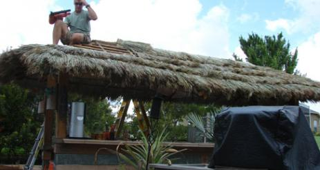 Tiki Hut Re-Thatch Project Stage 24