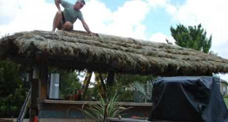 Tiki Hut Re-Thatch Project Stage 25