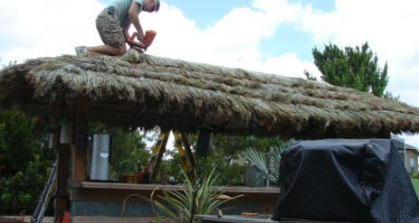 Tiki Hut Re-Thatch Project Stage 26