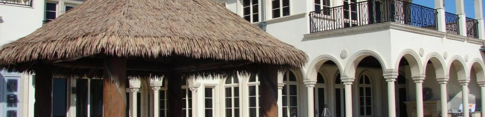 Synthetic custom palapa at pool